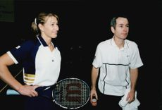 Portrait image of Steffi Graf and John McEnroe taken in conjunction with a charity match.