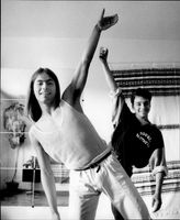 Picture of Roberto Rizzo and Daani Duroj who teach and dance electric boogie and street dance.