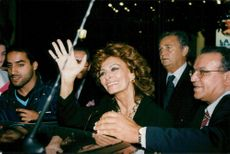 """Sophia Loren along with director Roger Hanin at the film premiere of """"Soleil"""""""