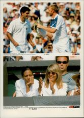 Boris Becker tries to snatch the Wimbeldon trophy from winner Pete Sampras. On the lower image Becker's wife Barbara.