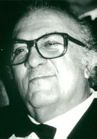 "Portrait image of Frederico Fellini taken in connection with the premiere of his film ""Intervista""."
