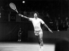 American tennis player Arthur Ashe during Stockholm Open 1975