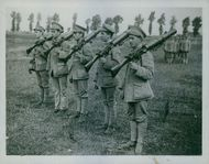 Soldiers standing in the field while training during Tyskland War.