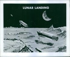 Illustration of moon, missiles and land.