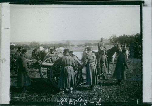 Balkan War 1912-13 Soldiers using cannon during wartime.