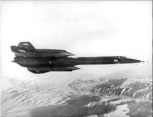 The world's first spy plane in the air, a Lockhead SR-71 made entirely in titanium.