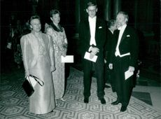Moderate Carl Bildt with Mia Mia and Social Democrats Anna-Greta Leijon with husband arriving at the royal dinner