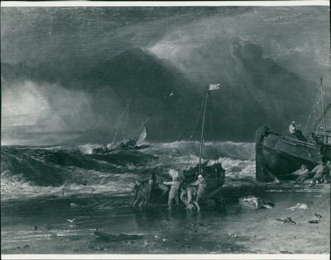 Fishermen upon a leeshore in squally weather.
