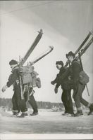 Swedish soldiers moving forward.