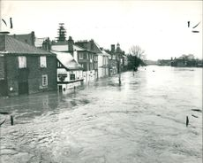 Floods 1966-1989:Street scene in flooded.
