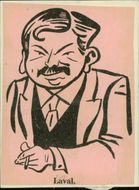 Illustration of Pierre Laval, French politician, by unknown character. - Year 1935