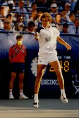Action image of Mats Wilander taken during the US Open 1989.
