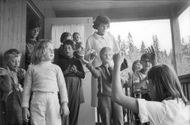 Eunice Shrivers visits Sätravik, one of Stockholm's colonies for development-impaired children