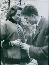 Princess Diane of Orléans is engaged to Carl, Duke of Württemberg, December 1959.