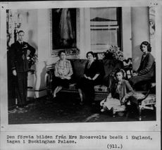 The first picture from Mrs. Roosevelt's visit to England, taken in Buckingham Palace