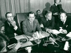 Olof Palme during the press conference after the attack on the West German embassy