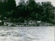 View of smoke puff caused due to the burning ship.