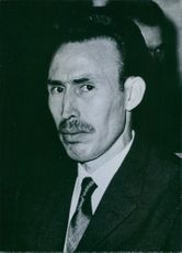 1966  Portrait of Houari Boumediene.  Has been President of Algeria since June 19th 1965 when he staged a coup and ousted President Ben Bella.