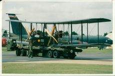 The replica vickers vimy bomber arriving at RAF mildenhall.