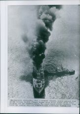 General view of the burning Swedish steamer Dagmar Salen which caught afire 10 miles off the Delaware Coast.