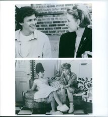 """Different scenes from the movie """"Pretty in Pink"""", with Andrew McCarthy as Blane McDonough, Molly Ringwald as Andie Walsh and Annie Potts as Iona, 1986."""