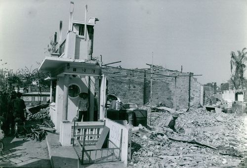 Ruined buildings and houses during the Vietnamese war.