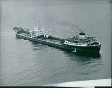 A huge cargo ship at sea.  Taken - 1972