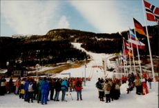 Overview of the audience and the ski slope during the Olympic Games.