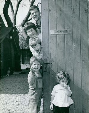 Swedish musician, Carl Anton Axelsson, with his wife Libbe, and their three children, Jocke, Micke and Isabell. 1963.