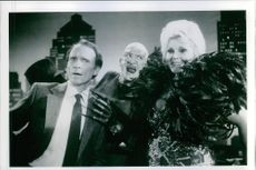 "1987 A scene of Richard Alva ""Dick"" Cavett, Robert Barton Englund  and Zsa Zsa Gabor from the film A Nightmare on Elm Street 3: Dream Warriors."