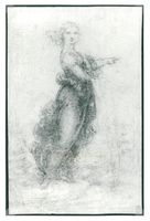 Standing woman in a landscape, also known as the pointing lady, is an example of Vinci's pursuit of imitating the Romans and Greeks expression.