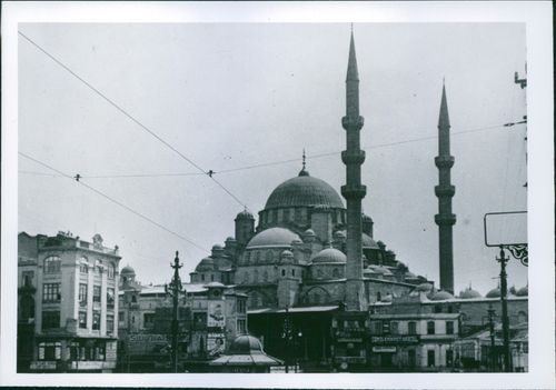 Photo of the outside exterior of a Mosque. 1958.