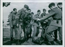 Danish military internee in Sweden Military men plays ball in the field. 1940