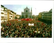 Italy Demonstrations: Florence's Santa Croce Square.