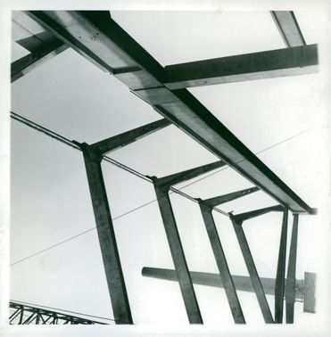 Piles and beams of string concrete mounted on the construction site in Älvsjö