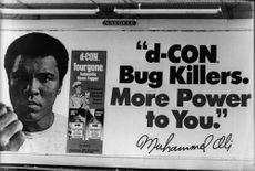 An advertising poster with Muhammad Ali and an insecticide.