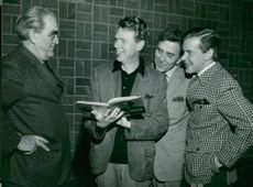 Vilhelm Moberg together with guest director Bengt Lagerkvist and Erik Hell and Matias Henrikson