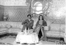 Prince of Morocco, Moulay Abdellah seated next to bride Lamia Solh.