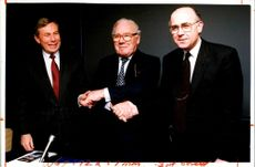 Colin Marshall with Lord King and David James.