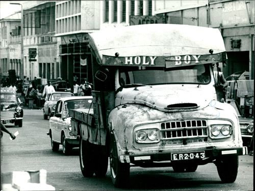 A battered truck, the original holy roller.