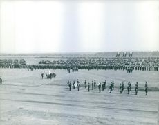 England Army soldiers in formation at parade ground.
