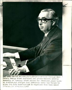 Lord George Brown addressing the United Nations General Assembly