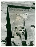 Nubian valley Egypt: head and shoulder of a colossus of ramses.