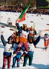 4 x 10 km men's table. Winning Italian team lifts finalist Marco Albarello, others: Maurilio De Zolt, Giorgio Vanzetta and Silvio Fauner