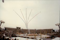 Flight show at the opening of the Winter Olympics in 1998