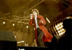 Mick Jagger during a Rolling Stones concert in Holland