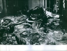 Remains of different things after blast.