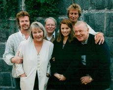 """Director Richard Hobert along with the actors in his new movie """"Autumn in Paradise""""; Göran Stangertz, Mona Malm, Sven Lindberg, Camilla Lunden and Börje Ahlstedt."""