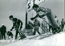 People indulge in skiing racing.
