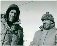 Edmund Hillary, Alpineist and Polar Scientist with Noel Barber on arrival at the South Pole